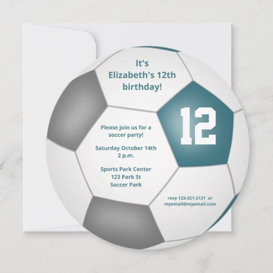 teal gray white soccer themed birthday party announcement