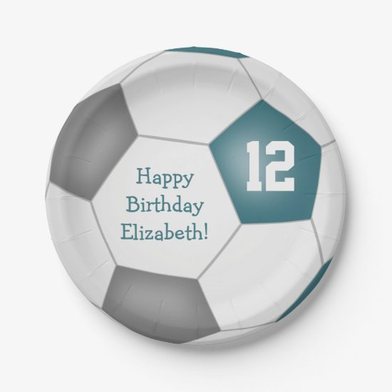 teal gray white soccer themed birthday party paper plate