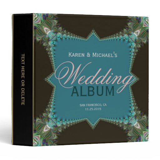 Teal Gree Fractal Peacock Lace Wedding Album Binder