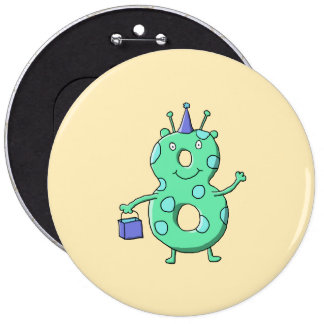 Teal green 8th birthday cartoon buttons