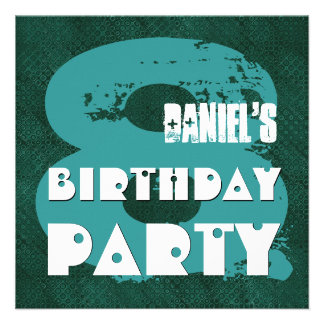 TEAL GREEN 8th Birthday Party 8 Year Old V11F Custom Announcements