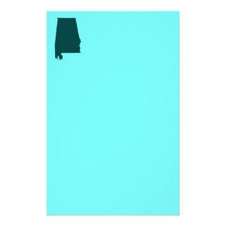Teal Green Alabama Shape Stationery Paper