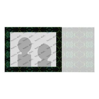 Teal Green and black floral pattern Photo Card Template