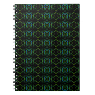 Teal, Green and black floral pattern. Spiral Note Books
