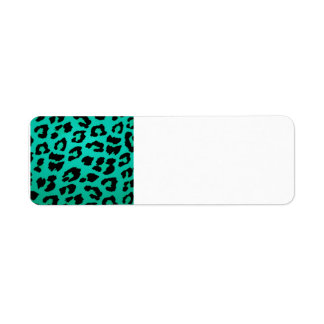 Teal Green and Black Leopard Print Label
