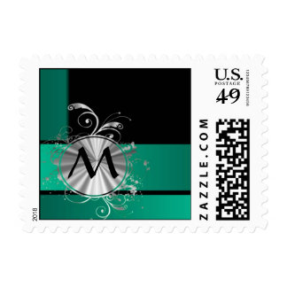 Teal green and black stamps