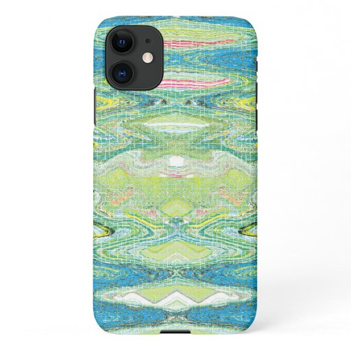 Teal, Green and Blue Abstract Funky Pattern iPhone 11 Case
