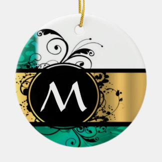 Teal green and gold monogram Double-Sided ceramic round christmas ornament