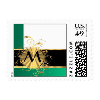 Teal green and gold monogram postage stamps