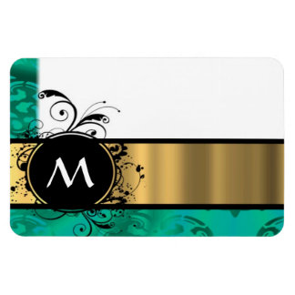 Teal green and gold monogram rectangle magnet