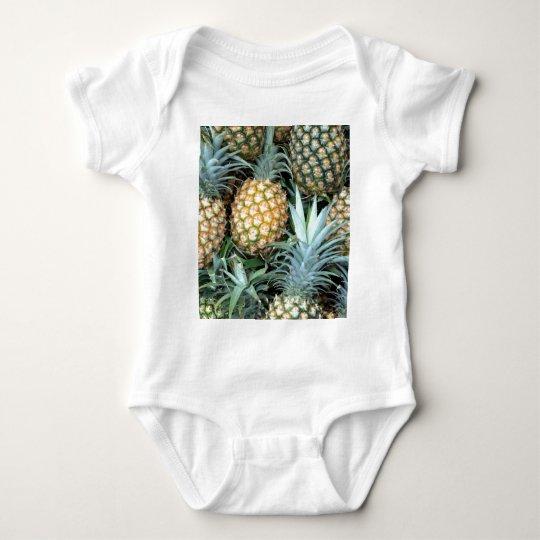 Teal, Green and Golden Hawaiian Pineapples Baby Bodysuit
