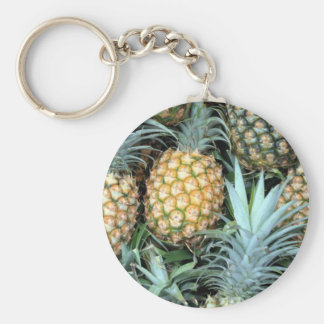 Teal, Green and Golden Hawaiian Pineapples Keychain