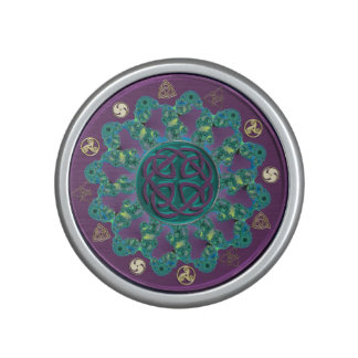 Teal Green and Purple Celtic Knot Mandala Speaker