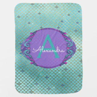 Teal Green and Purple Mermaid Scales Monogram Baby Blanket