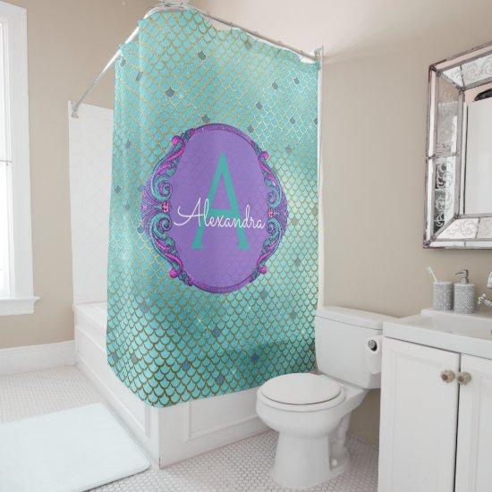 Teal Green and Purple Mermaid Scales Monogram Shower Curtain