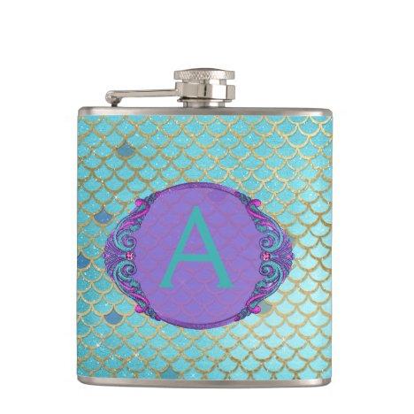 Teal Green and Purple Mermaid Scales Monogrammed Flask