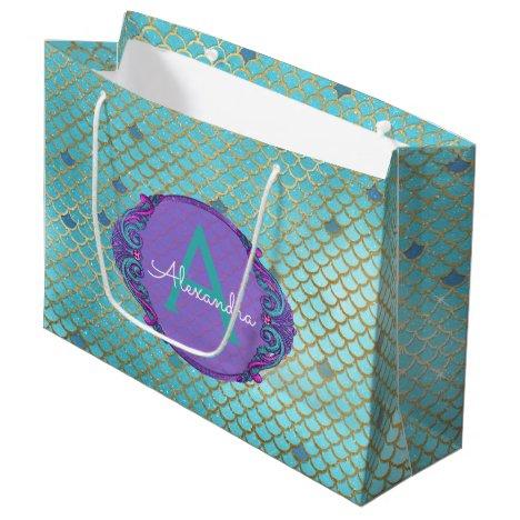 Teal Green and Purple Mermaid Scales Monogrammed Large Gift Bag