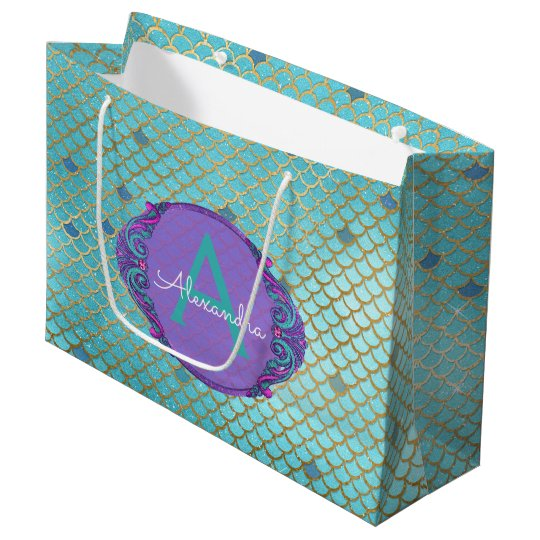 Teal Green And Purple Mermaid Scales Monogrammed Large Gift Bag