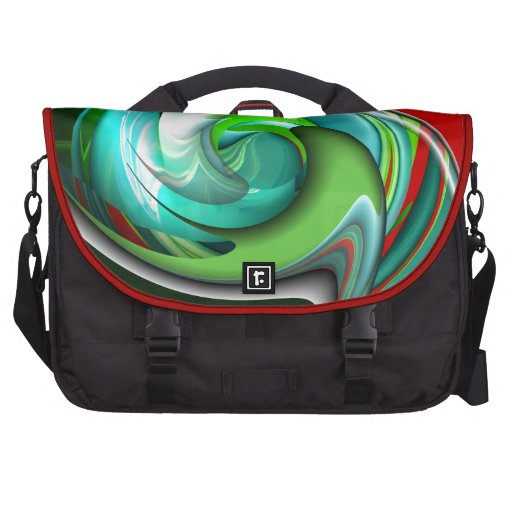 Teal Green and Red Art Bag For Laptop