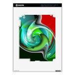 Teal Green and Red Art iPad 3 Skin