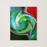 Teal Green and Red Art Jigsaw Puzzles