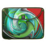 Teal Green and Red Design MacBook Pro Sleeves