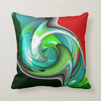 Teal Green and Red Design Pillow