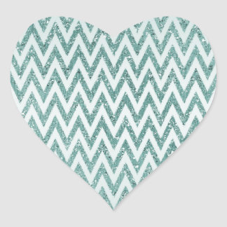 Teal Green and White Faux Glitter Zigzag Heart Sticker