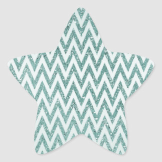 Teal Green and White Faux Glitter Zigzag Star Sticker