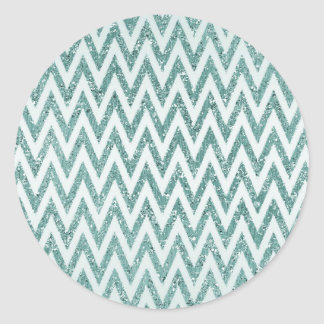 Teal Green and White Faux Glitter Zigzag Classic Round Sticker