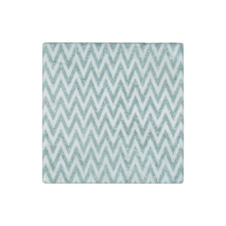 Teal Green and White Faux Glitter Zigzag Stone Magnet