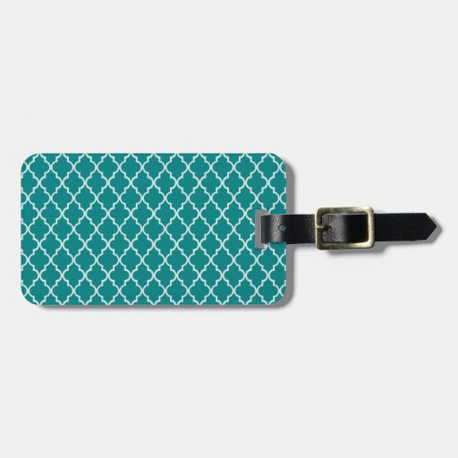 Teal Green And White Moroccan Trellis Pattern Bag Tags