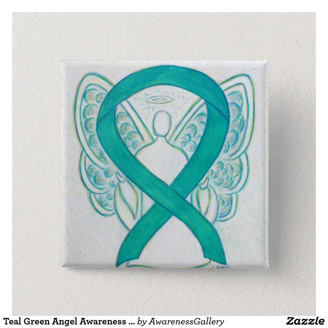 Teal Green Angel Awareness Ribbon Art Lapel Pin