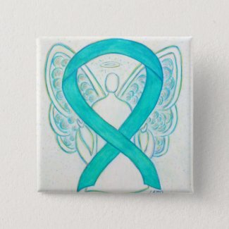 Teal Green Angel Awareness Ribbon Custom Art Pins