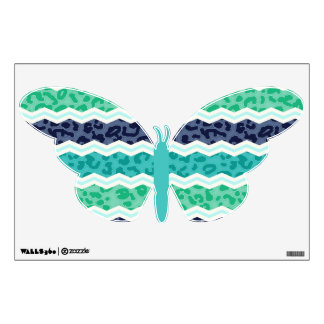 Teal Green, Aqua, and Blue Leopard Chevron Wall Graphic