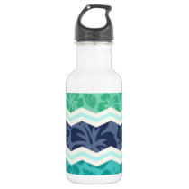 Teal Green, Aqua, and Blue Tropical Chevron Stainless Steel Water Bottle
