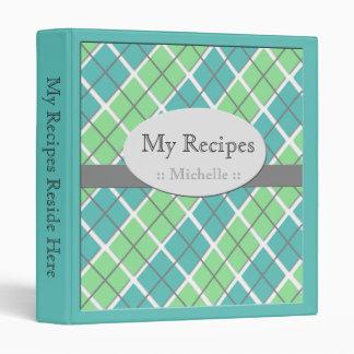 Teal & Green Argyle Recipe Binder