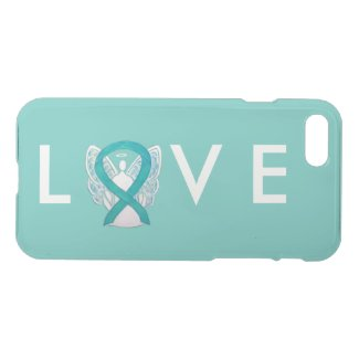 Teal Green Awareness Angel Ribbon iPhone 7 Case