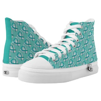 Teal Green Awareness Ribbon Angel Custom Sneakers