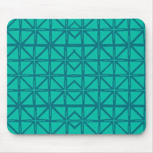 Teal Green Aztec Pattern Mouse Pad