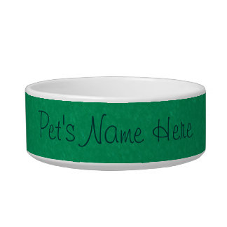 Teal Green Banded Pet Bowl
