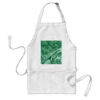 Teal Green Beetles Vintage Print Adult Apron