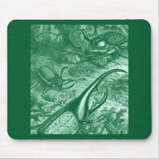 Teal Green Beetles Vintage Print Mouse Pad