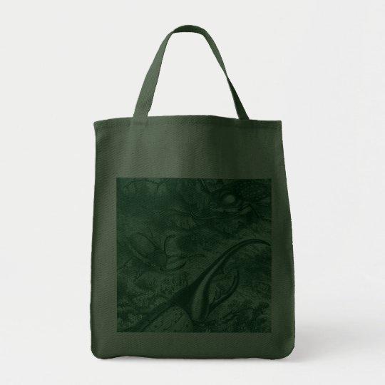 Teal Green Beetles Vintage Print Tote Bag