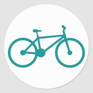 Teal Green Bicycle Classic Round Sticker