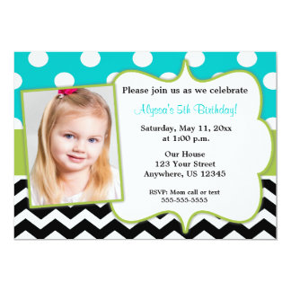 Teal Green Black Chevron Photo Invite