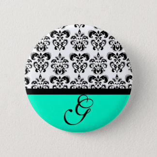 TEAL GREEN BLACK WHITE DAMASK WEDDING MONOGRAM BUTTON