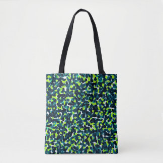 Teal Green Blue Black Abstract Pattern Tote Bag