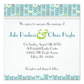 Teal Green Blue Chevron Modern Wedding Invitation