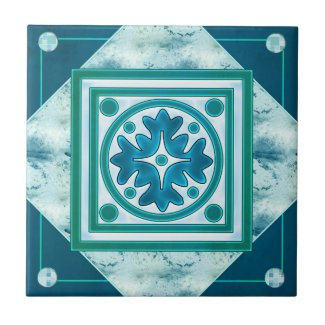 Teal Green Blue Geometric Kitchen or Bathroom Tile